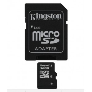 Kingston SDC432G 32 GB Class 4 Black microSDHC Memory Card with SD Adapter