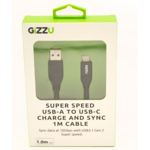 GIZZU USB3.1 A to USB-C 1m Cable Black