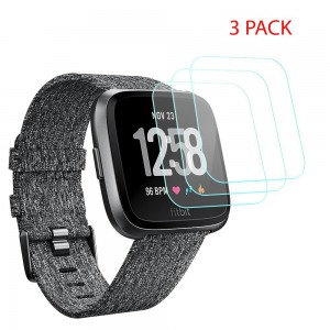 Fitbit Versa Screen Protector 9H Tempered Glass Round Edge Crystal Clear (3 pack)