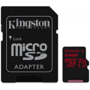 Kingston SDCR/64GB 64GB Canvas React UHS-I microSDXC Memory Card with SD Adapter