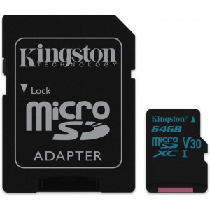 Kingston SDCG2/64GB 64GB Canvas Go! UHS-I microSDXC Memory Card with SD Adapter
