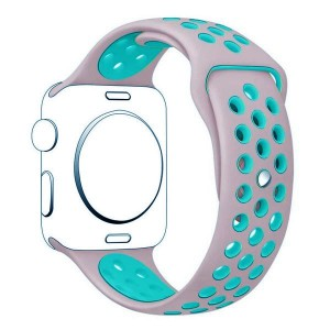 Apple Multi-colour Silicone Watch Strap 38mm-Baby Pink Light Blue