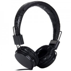 Unbranded EP05B-BB  Headset Black Floral with 3.5mm Jack Plug