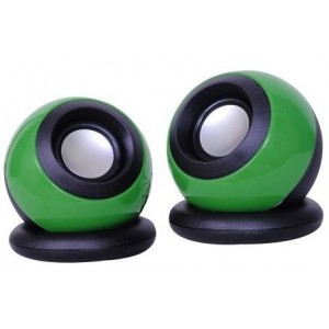 Unbranded MINI-R-GRE USB Mobiles Round Black and Green Speakers