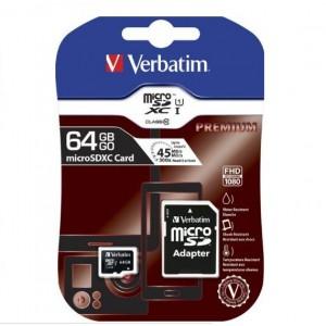 Verbatim 44084 64GB Micro SDXC Class 10 Memory Card Plus Adaptor