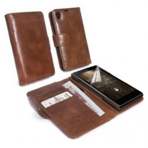 Tuff-Luv 5055261813734 Sony Experia Z1 Brown Leather Wallet Includes Screen Protector