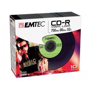 Emtec ECOC801052SLVY-GRN CD-R Vinyl Slim 10 Pack