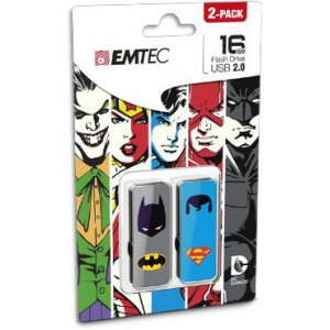 EMTEC ECMMD16GM700SHP2-BS M700 Super Hero 16GB USB 2 Flash Drive - Batman and Superman