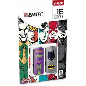 Emtec ECMMD16GM700SHP2-JB M700 Super Hero 16GB USB 2 Flash Drive - Batman and Joker (2 Pack)