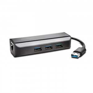 Kensington K33982WW USB 3.0 Ethernet Adapter & 3-Port Hub - Black