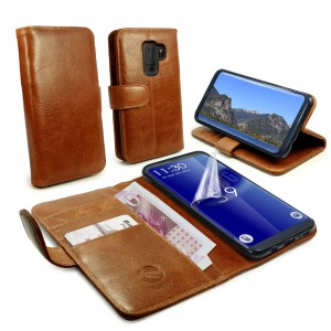 Tuff-Luv  J9_18 Vintage Genuine Leather Folio Wallet Case Cover & Stand for Galaxy S9 - Brown