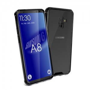 Tuff-Luv H12_78  Shockproof Transparent Armour Protective Back Cover Case for Samsung A8 - Clear