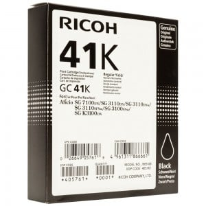 Ricoh GC41K Black Cartridge with yield of 2500 pages