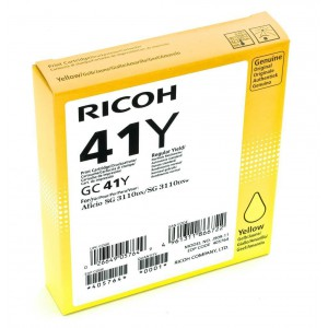 Ricoh GC41Y Yellow Cartridge with yield of 2200 pages