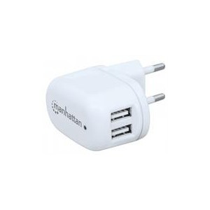 Manhattan 101745 PopCharge Home-Europlug C5 USB Wall Charger with Two Ports