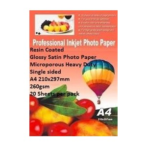 E-Box ERCGSS-260GSM-20 Resin Coated Glossy Satin Photo Paper