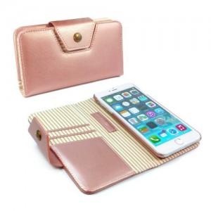 Tuff-Luv  D2_84  Alston Craig - Ladies Magnetic Case For the Apple iPhone 7 Plus - Rose Gold Stripe