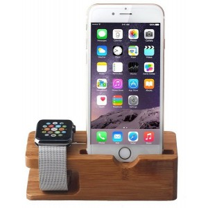 Tuff-Luv I13_82 Moulded Bamboo Wood Charging Stand for Apple Watch and iPhone - Brown (5s / 5c / 6 / 6s)