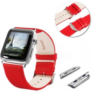 Tuff-Luv  E11_89 Genuine Leather Wrist Watch Strap Band and Connector for Apple Watch Strap 42mm - Red (Series 1 / 2)