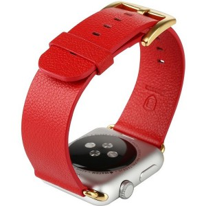 Tuff-Luv  E2_57  Classic Buckle and Genuine Leather Watchband for Apple Watch 42mm - Red (Series 1 / 2)