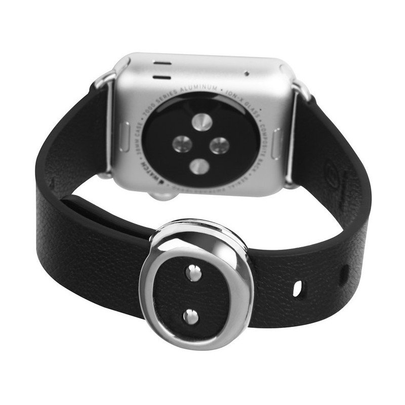 Tuff-Luv  E2_60  Classic Buckle and Genuine Leather Watchband for Apple Watch 38mm - Black (Series 1 / 2)