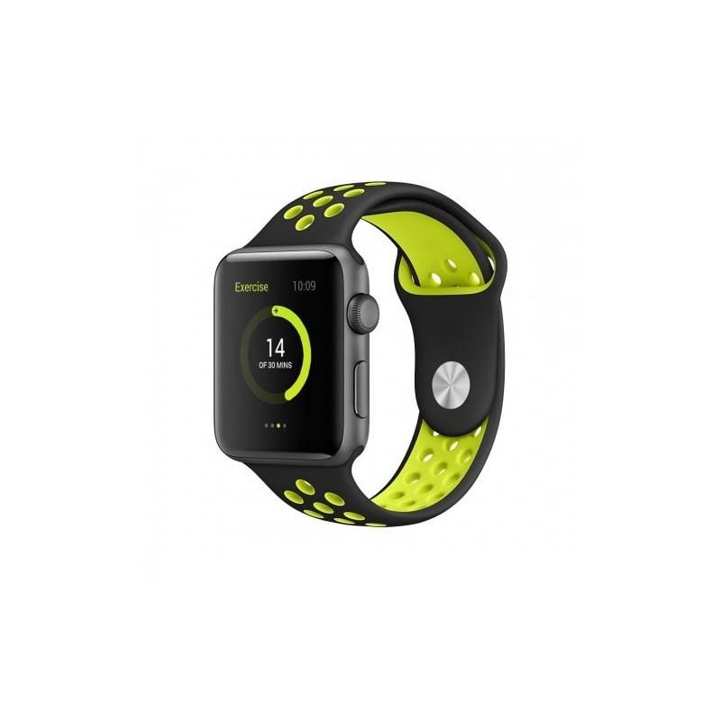 Tuff-Luv  C4_98  Apple Watch Series 1 & Series 2 Silicone Sport Watchband 38mm (Black Yellow)