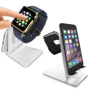 Tuff-Luv 3WATDUOSTANDSLVR Orzly DuoStand for Apple Watch & iPhone - Silver