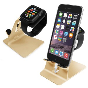 Tuff-Luv 3WATDUOSTANDGLD Orzly DuoStand for Apple Watch & iPhone - Gold