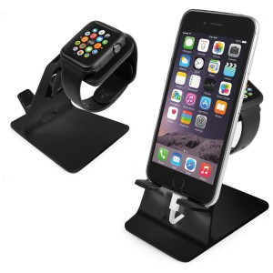 Tuff-Luv 3WATDUOSTANDBLK Orzly DuoStand for Apple Watch & iPhone - Black