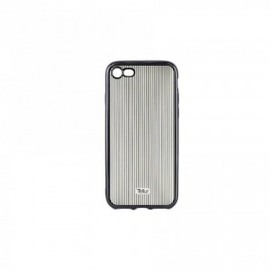 Tellur Silicone Cover Vertical Stripes for iPhone 7/8, Black