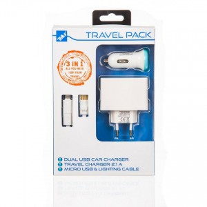 Tellur Travel Kit: Cable 2in1 (Micro USB + Lightning) + Dual USB car 2.4A and wall 2.1A chargers