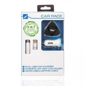 Tellur Car Kit: Cable 2in1 micro USB & Lightning, Dual USB car (2.4A) & car holder air vent magnetic