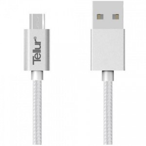 Tellur Data Cable USB - microUSB nylon 1m, silver