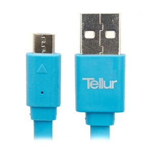 Tellur MicroUSB Flat Data Cable 100cm, Blue