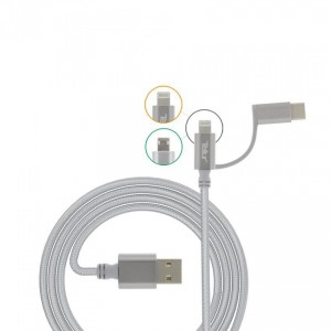 Tellur Nylon Braided 3 in 1 Cable USB to microUSB & lightning + Type-C adapter, silver