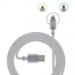Tellur Nylon Braided 2 in 1 Cable Reversible USB to microUSB & lightning, silver