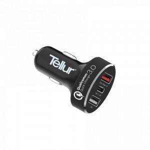 Tellur Car Charger QC 3.0 3 USB ports (1 port QC 3.0 + 1 port 2.4A + 1 port Type-C), Black