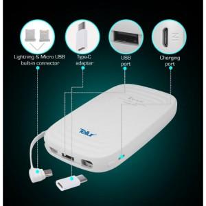 Power Bank 5000mAh, 3in1 (Micro USB + Lightning + Type C), White
