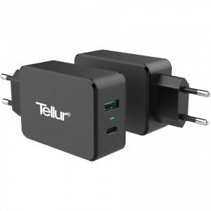 Tellur Travel charger QC 3.0 2 USB ports (1 port QC 3.0 & 1 port Type-C), Black