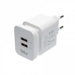 Tellur Home charger dual USB+MicroUSB cable, U2000 - 2.1A, White