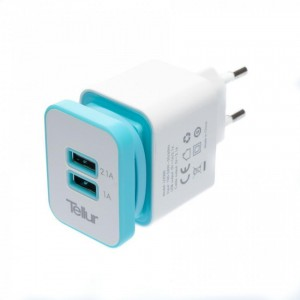 Tellur Home charger dual USB+MicroUSB cable, U2000 - 2.1A, White&Blue