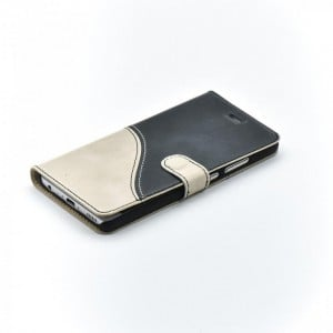 Tellur Book Case Genuine Leather Wave for Huawei P9, Black&White
