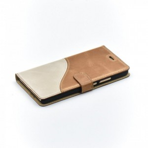 Tellur Book Case Genuine Leather Wave for Huawei P9 Lite, Brown&White
