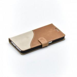 Tellur Book Case  Genuine Leather Wave for Samsung S7, Brown&White