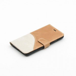 Tellur Book Case Genuine Leather Wave for iPhone 7/8, Brown&White