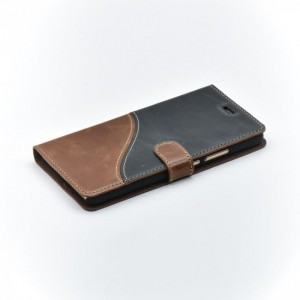 Tellur Book Case Genuine Leather Wave for Huawei P9 Lite, Black&Brown