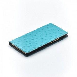 Tellur Book Case Magnetic  Genuine Leather with Ostrich Print for Huawei P9 Lite, Turquoise