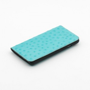 Tellur Book Case Magnetic  Genuine Leather with Ostrich Print for iPhone 7/8 Plus, Turquoise