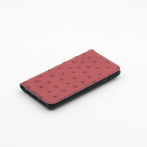 Tellur Book Case Magnetic  Genuine Leather with Ostrich Print for iPhone 7/8 Plus, Red