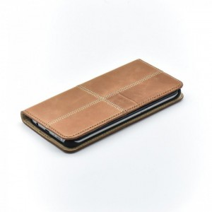 Tellur Book Case Magnetic Genuine Leather Patch for Samsung S7 Edge, Brown